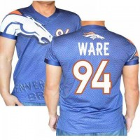 Denver Broncos #94 DeMarcus Ware Stretch Name Number Player Personalized Blue Mens Adults NFL T-Shirts Tee Shirts