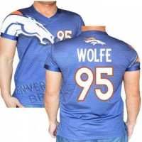 Denver Broncos #95 Derek Wolfe Stretch Name Number Player Personalized Blue Mens Adults NFL T-Shirts Tee Shirts