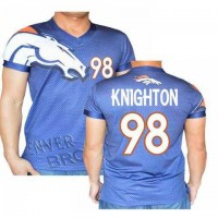 Denver Broncos #98 Knighton Stretch Name Number Player Personalized Blue Mens Adults NFL T-Shirts Tee Shirts