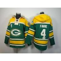 Green Bay Packers #4 Brett Favre Green Sawyer Hooded Sweatshirt NFL Hoodie