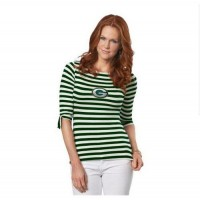 Green Bay Packers Lady Striped Boatneck Three-Quarter Sleeve T-Shirt
