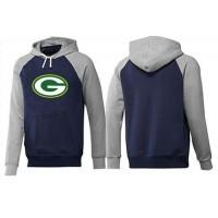 Green Bay Packers Logo Pullover Hoodie Dark Blue & Grey