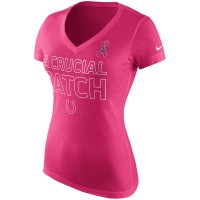Indianapolis Colts Nike Women's Breast Cancer Awareness V Neck Tri Blend T-Shirt Pink
