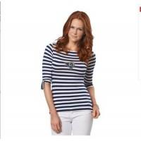 Los Angeles Rams Lady Striped Boatneck Three-Quarter Sleeve T-Shirt