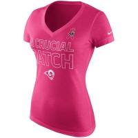 Los Angeles Rams Nike Women's Breast Cancer Awareness V Neck Tri Blend T-Shirt Pink