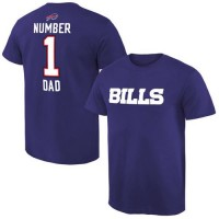 Men's Buffalo Bills Pro Line College Number 1 Dad T-Shirt Blue