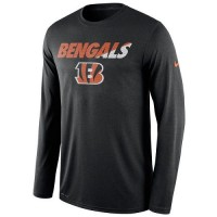 Men's Cincinnati Bengals Nike Black Legend Staff Practice Long Sleeves Performance T-Shirt
