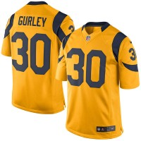 Men's Los Angeles Rams #30 Todd Gurley Gold Color Rush Limited Jersey