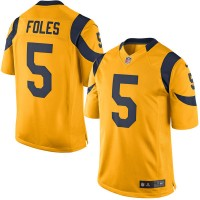 Men's Los Angeles Rams #5 Nick Foles Nike Gold Color Rush Limited Jersey