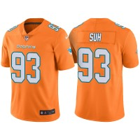 Men's Miami Dolphins #93 Ndamukong Suh Orange Color Rush Limited Jersey