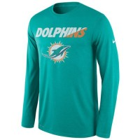 Men's Miami Dolphins Nike Aqua Legend Staff Practice Long Sleeves Performance T-Shirt