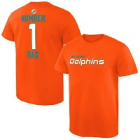 Men's Miami Dolphins Pro Line College Number 1 Dad T-Shirt Orange
