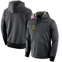 Men's Minnesota Vikings Nike Anthracite Salute to Service Player Performance Hoodie