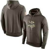 Men's Minnesota Vikings Nike Olive Salute To Service KO Performance Hoodie
