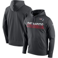 Men's New England Patriots Nike Anthracite Sideline Circuit Pullover Performance Hoodie