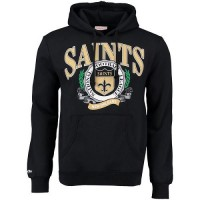 Men's New Orleans Saints Mitchell & Ness Black Fair Catch Pullover Hoodie