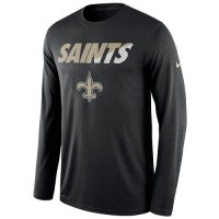 Men's New Orleans Saints Nike Black Legend Staff Practice Long Sleeves Performance T-Shirt
