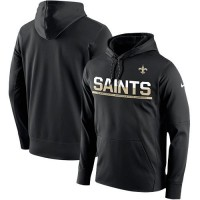 Men's New Orleans Saints Nike Black Sideline Circuit Pullover Performance Hoodie