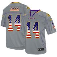 Men's Nike Minnesota Vikings #14 Stefon Diggs Elite Grey USA Flag Fashion NFL Jersey