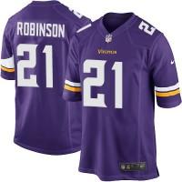 Men's Nike Minnesota Vikings #21 Josh Robinson Purple Stitched NFL Game Jersey