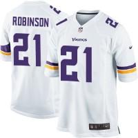 Men's Nike Minnesota Vikings #21 Josh Robinson White Stitched NFL Game Jersey