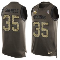 Men's Nike Minnesota Vikings #35 Marcus Sherels Green Salute to Service Limited Tank Top NFL jersey