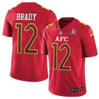 Men's Nike New England Patriots #12 Tom Brady Red Stitched NFL Limited AFC 2017 Pro Bowl Jersey
