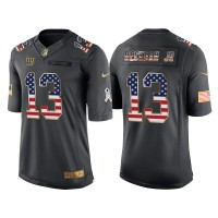 Men's Nike New York Giants #13 Odell Beckham Jr Anthracite Stitched NFL Limited Salute to Service USA Flag Fashion Jersey