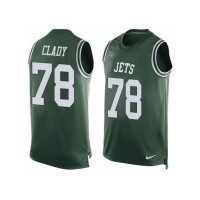 Men's Nike New York Jets #78 Ryan Clady Limited Green Player Name & Number Tank Top NFL Jersey