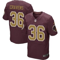 Men's Nike Washington Redskins #36 Su'a Cravens Elite Burgundy Red&Gold Number Alternate 80TH Anniversary NFL Jersey