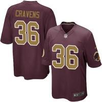 Men's Nike Washington Redskins #36 Su'a Cravens Game Burgundy Red&Gold Number Alternate 80TH Anniversary NFL Jersey