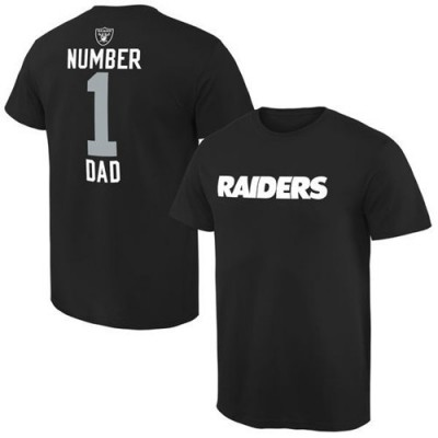 Men's Oakland Raiders Pro Line College Number 1 Dad T-Shirt Black