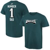 Men's Philadelphia Eagles Pro Line College Number 1 Dad T-Shirt Green