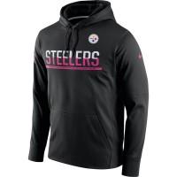 Men's Pittsburgh Steelers Black Breast Cancer Awareness Circuit Performance Pullover Hoodie