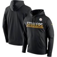 Men's Pittsburgh Steelers Nike Black Sideline Circuit Pullover Performance Hoodie