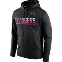 Men's San Diego Chargers Black Breast Cancer Awareness Circuit Performance Pullover Hoodie
