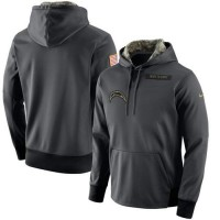 Men's San Diego Chargers Nike Anthracite Salute to Service Player Performance Hoodie