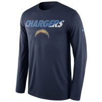 Men's San Diego Chargers Nike Navy Legend Staff Practice Long Sleeves Performance T-Shirt