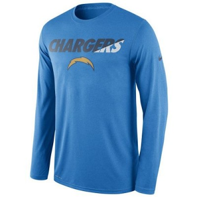 Men's San Diego Chargers Nike Powder Blue Legend Staff Practice Long Sleeves Performance T-Shirt