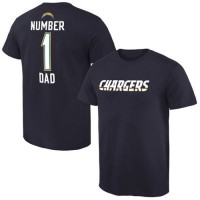 Men's San Diego Chargers Pro Line College Number 1 Dad T-Shirt Navy