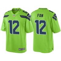 Men's Seattle Seahawks 12th Fan Green Color Rush Limited Jersey
