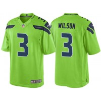 Men's Seattle Seahawks #3 Russell Wilson Green Color Rush Limited Jersey