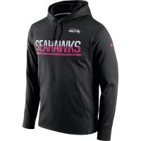 Men's Seattle Seahawks Black Breast Cancer Awareness Circuit Performance Pullover Hoodie
