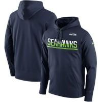 Men's Seattle Seahawks Nike College Navy Sideline Circuit Pullover Performance Hoodie