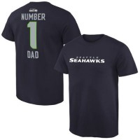 Men's Seattle Seahawks Pro Line College Number 1 Dad T-Shirt Navy