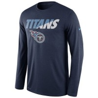 Men's Tennessee Titans Nike Navy Legend Staff Practice Long Sleeves Performance T-Shirt