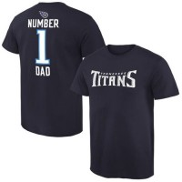 Men's Tennessee Titans Pro Line College Number 1 Dad T-Shirt Navy