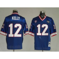 Mitchell & Ness Bills #12 Jim Kelly Blue 35th Anniversary Patch Stitched Throwback NFL Jersey