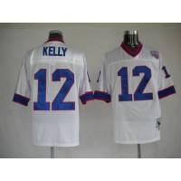 Mitchell & Ness Bills #12 Jim Kelly White Stitched Throwback NFL Jersey