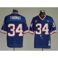 Mitchell & Ness Bills #34 Thurman Thomas Blue 35th Anniversary Patch Stitched Throwback NFL Jersey